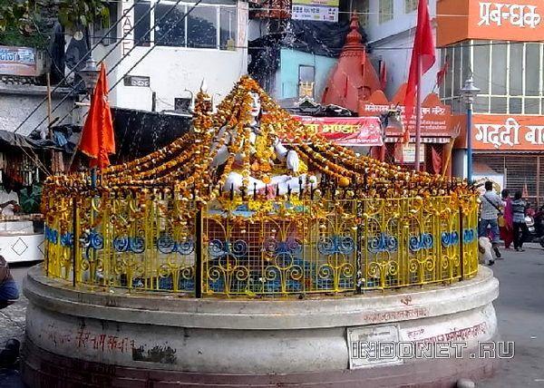 статую шивы украсили гирляндами на махашиваратри