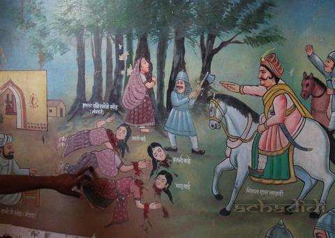 Женщины-бишнои защищают деревья от солдат, картина в бишнойском храме