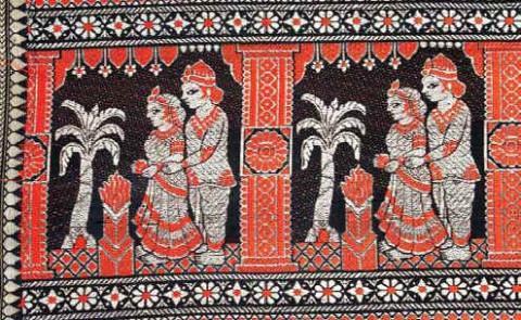 Балучарские сари, орнамент каймы