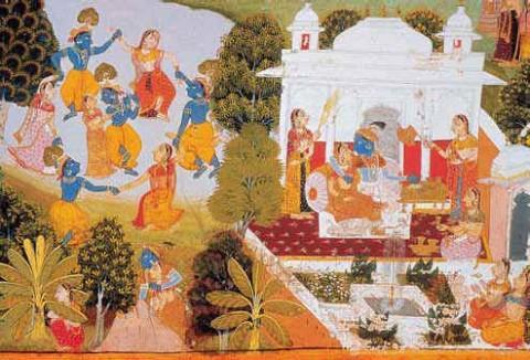 Кришна и его компаньоны празднуют Холи