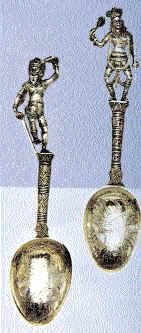 серебряные ложки с традиционными индийскими фигурками