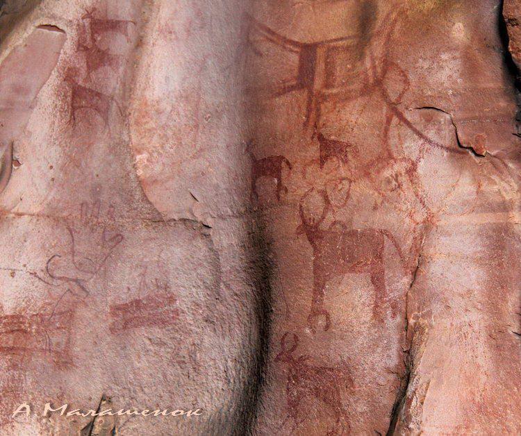 Бхимбетка, красные рисунки