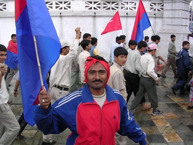 Катманду, демонстрант