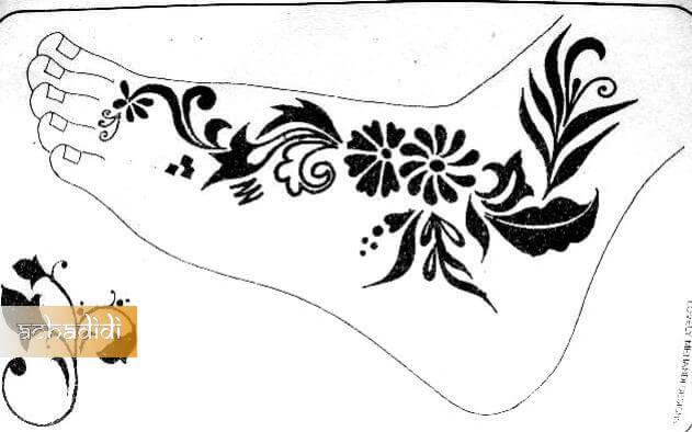 фото рисунок хной для ног