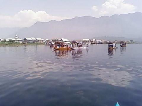На озере днем