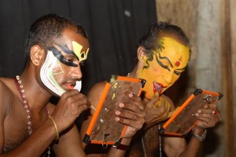 Гримирование актеров катхакали