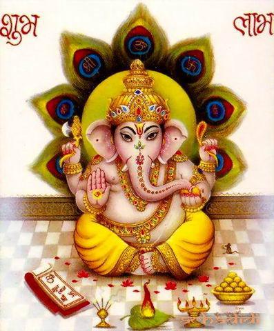 Ганеша, индийская почтовая открытка