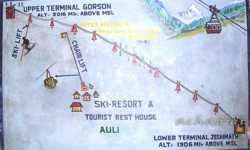 Схема канатной дороги Джошиматх - Аули