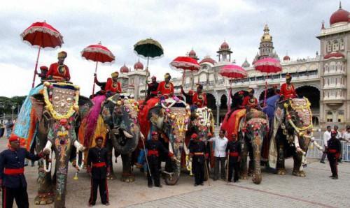 Слоны Майсора на празднике Дуссера, фото thehindu.com