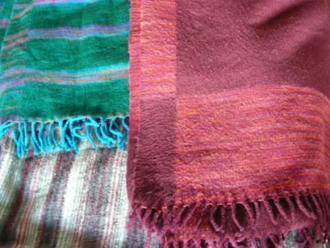 Тибетские шали, акрил, бордовая акрил с шерстью