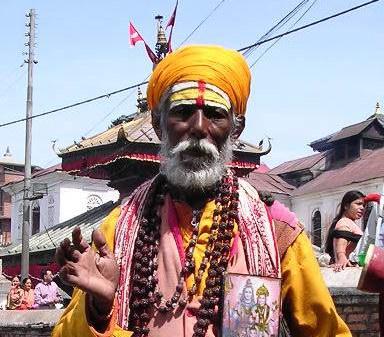 Дедушка из Пашупатинатха с шиваитским тилаком