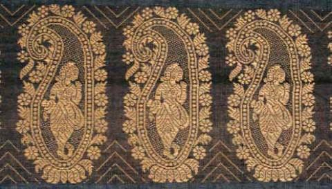 Балучарские сари, рисунок с огурцами