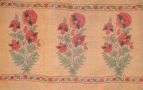 великолепный образец шали Пашмина с цветочным орнаментом в могольском стиле